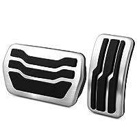 車用 ペダル フォーカスのためのステンレス鋼の車のペダルパッドのペダルカバーのためのフォーカス2 3 4 MK2 MK3 MK4 RS ST 2005-2020 Kuga Escape 2009-2020 ブレーキペダル ペダルセット (サイズ : AT)