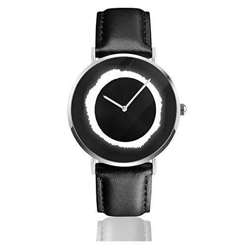 Unisex Business Casual Solar Eclipse Watches Quartz Leather Watch with Black Leather Band for Men Women Young Collection Gift