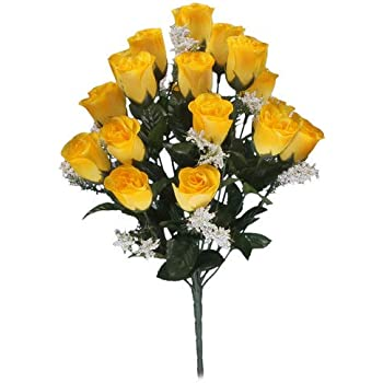 18 Head Yellow Rose Buds Artificial Flower Bush Weddings Graves Amazon Co Uk Computers Accessories