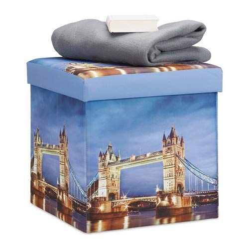 Relaxdays Sitzhocker mit Beleuchtung, Sitzwürfel mit Motiv London Bridge, LED Falthocker HBT: 38 x 38 x 38 cm, bunt