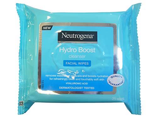 Neutrogena Lingettes Démaquillant Hydro Boost Hydratantes Acide Hyaluronique Lotion Non Grace Lot de 25