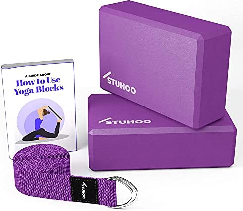 STUHOO Yoga Block (Set of 2) and Yoga Strap Includes Descriptive E-book for Beginners Sturdy Brick & Lightweight Eva Foam Block Support Deepen Poses, Provides Strength & Stability for Pilates Practice
