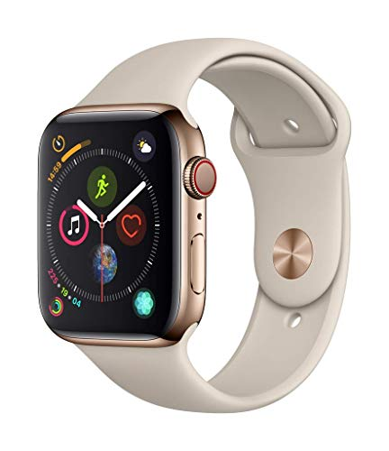 Apple Watch Series 4 (GPS + Cellular) con caja de 44 mm de acero inoxidable en oro y correa deportiva en color piedra