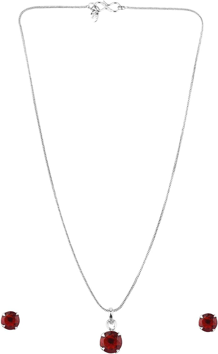 Efulgenz Cubic Zirconia CZ Round Pendant Chain Necklace Earrings Jewelry Set Gift for Women