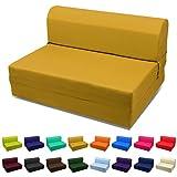Single Size Sleeper Chair Folding Foam Bed,Ottoman-Cinnamon/Golden