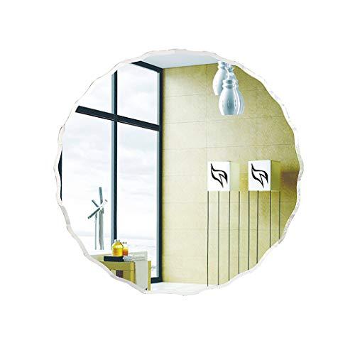 PIGE Espejo de baño de vanidad, Espejo de Pared Minimalista Europeo Ondulado de Borde Ondulado - Espejo de Vidrio Decorativo -60x60cm