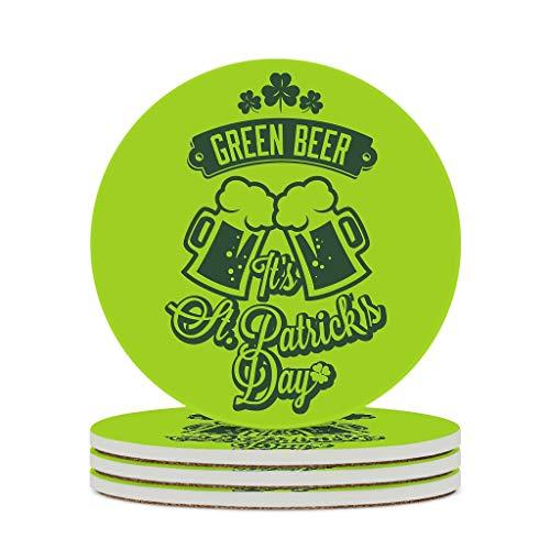 Fineiwillgo Posavasos de cerámica Happy St Patricio es Day Green de protección redonda de cerámica con respaldo de corcho impreso para jarrones u oficina, diámetro de 9,8 cm, color blanco, 4 unidades