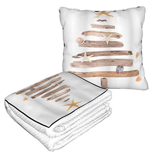 XINGAKA Manta de Viaje súper Suave,Árbol de Madera Flotante de Navidad con Conchas y Estrellas de mar náuticas Ornamentales,Manta Plegable,Almohada cómoda