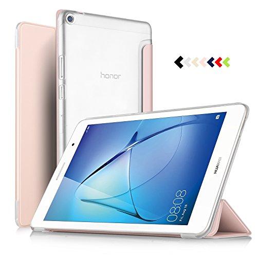 ELTD Funda Carcasa para Huawei MediaPad T3 8, Ultra Delgado Silm Stand Función Smart Fundas Duras Cover Case para Huawei MediaPad T3 8 Tableta, (Oro Rosa)