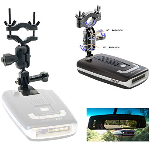 Easy Install Car Truck Rear View Mirror Radar Detector Mount for Escort Max Max2 / Max 2 / Max II / Max360 Radar (NOT Compatible with MAX360C Magnetic Cradle) Require 1' Clear stem Space to Install