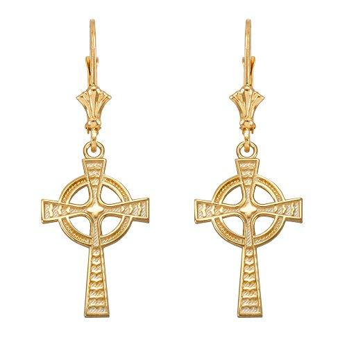 Celtic Cross Leverback Dangle Earrings 14k Yellow Gold