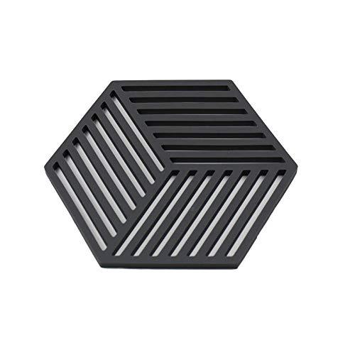 Alfombrillas de silicona hexagonales Posavasos de patrones geométricos modernos Manteles individuales Ollas Copas Juego de 4 Gris