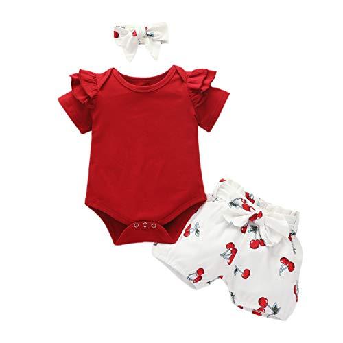 Livingsenburg Baby Mädchen Langarm Rot Romper Floral Hose Stirnband 3 Stück Kleinkind Kurzarm Tie Dye Tops Hosen Weihnachtsoutfits Set für 0-24 Monate (0-6 Monate, V-Rot)