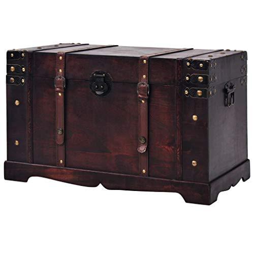 Festnight- Schatztruhe Holz Aufbewahrungstruhe | Tragbar Schatzkiste mit 2 Seitengriffen | Vintage Aufbewahrungsbox 66 x 38 x 40 cm Braun