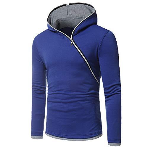 Sweat-Shirt Capuche Homme Manches Longues Plain Simple Sweatshirt Zipper Decoration Top Fit Training Shirt Fitness Pullover 2021 Automne et Hiver Nouvelle Garder au Chaud Sweat-Shirt XL