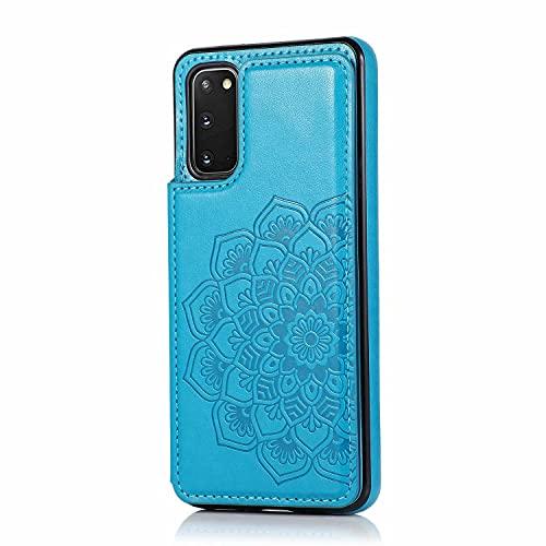 Lijc Compatible con Funda Samsung Galaxy S20 Botón Doble Mandala En Relieve PU Cuero Tarjeta Bolsillos [Ranura para Tarjetas] [Soporte Plegable] Antigolpes Flip Caso-Azul