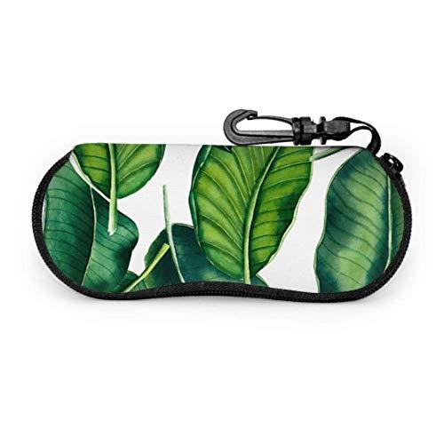 WDDHOME Verde Retro Banana Palm Leaves Mujer Gafas de sol Funda Hombre Gafas Funda de luz Neopreno portátil Cremallera Estuche blando Chica Gafas de sol Estuche