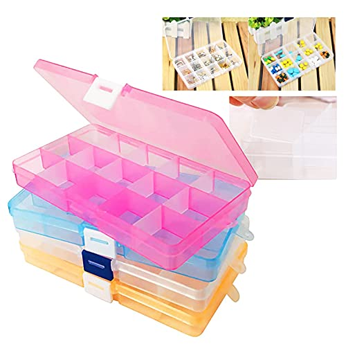 4 PCS Compartimento Ajustable de Rejillas Organizador de Joyas Ajustable de Plástico Organizador para Accesorios de Joyería de Escritorio Juguete Caja Herramientas Almacenamiento Apilable Plástico