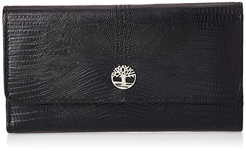 Timberland Leather RFID Flap Wallet Clutch Organizer, Black (Exotic)