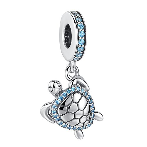 ANGELFLY 925 Sterling Silver Sea Turtle Dangle Charm with Ocean Blue CZ Lucky Animal Charms for Bracelets