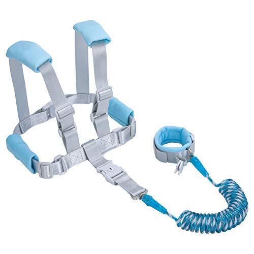 HUGVIDAS 2 in 1 Baby Leash,Baby Anti-Lost Wrist Strap,Toddler Leash,Toddler Leash,Child Lock,6.5 Feet,Blue