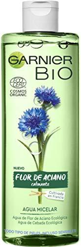 Garnier BIO Agua Micelar con Agua de Flor de Aciano y Cebada Ecológicas, para Rostro, Ojos y Labios, apta para Pieles Sensibles - 400 ml