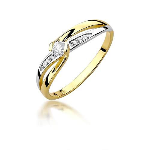 Damen Solitär Versprechen Ring Verlobungsring Antragsring 585 14k Gold Gelbgold natürlicher echt Diamant Brillanten
