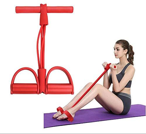 LELEADER Cuerda de tensión Multifuncional, Cuerda de tracción elástica, Ejercicios de piernas, Yoga, Fitness, Entrenamiento con Pesas, Pedal,Rojo,Advanced