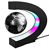 Magnetic Levitation Floating World Map Globe with C Shape Base, 3' Rotating Planet Earth Maglev Globe Ball Anti Gravity LED Light Lamp- Educational Gifts for Kids, Home Office Desk Decoration