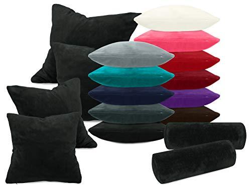 laken24 Kissenhüllen aus Coral-Kuschel-Fleece (2 Stück) - in 11 Unifarben - in 3 Größen, ca. 40 x 40 cm, schwarz