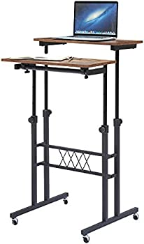 VECELO Stand Up Desk with Adjustable Height, Rolling Table