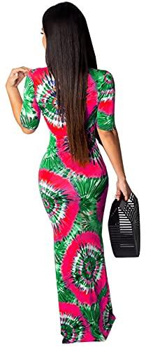 Women Bodycon Floral Mermaid Dresses Tropical Sexy V Neck Short Sleeve Long...