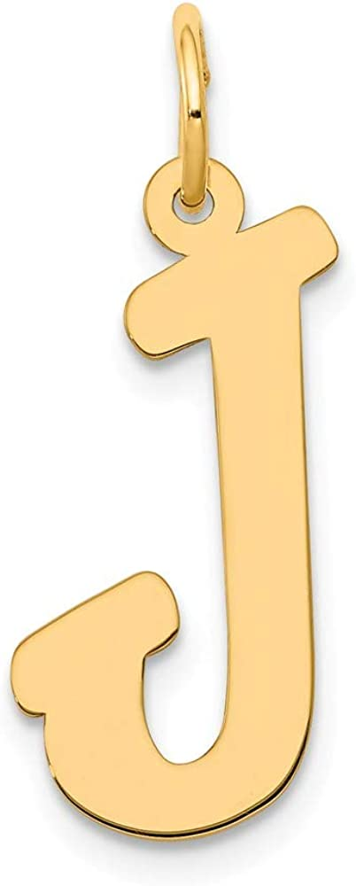 14k Yellow Gold Large Script Letter J Initial Monogram Name Pendant Charm Necklace Fine Jewelry For Women Gifts For Her