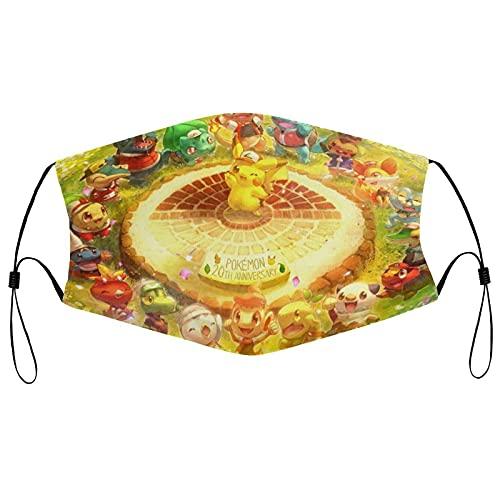 KINGAM Pikachu - Muffs para bocas de Pokémon a prueba de polvo para ciclismo al aire libre, funda de cara reutilizable para protección bucal, máscara protectora de tela, bandana, ajustable, resistente