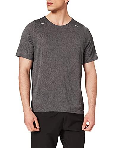 NIKE RN Dvn Rise 365 SS Jac, Camiseta Hombre, Black/Iron Grey/Reflective SIL,...