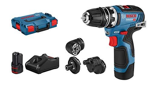 Bosch Professional 06019H3000 12V Akkuschrauber GSR 12V-35 FC Set (2X 3.0 Ah Akku, System, inkl. 4 FlexiClick Aufsätzen, max. Bohr∅ Holz/Stahl: 32/10 mm, in L-BOXX), 12 V, blau