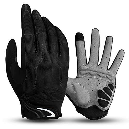 Vollfinger Fahrradhandschuhe Männer Touchscreen Kompatibel MTB Handschuhe mit Gel für Herren Damen(Schwarz, M)