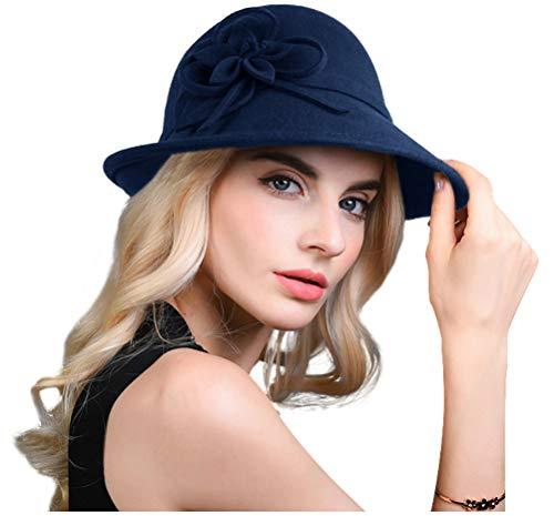 Bellady Women's Elegant Flower Wool Cloche Bucket Bowler Hat,Style2_Navy