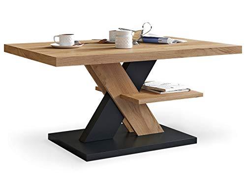 Table basse de salon Chêne et Noir avec étagère, table centrale blanche moderne et élégante pour thé et le café. Design épuré et un choix parfait - Un ajout élégant à n'importe quel salon.