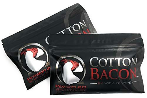 ORIGINAL Wick \'N\' Vape Cotton Bacon V2 - Dampfer Watte E Zigarette Zubehör/Selbstwickler Watte - 2 Packungen-Sparset