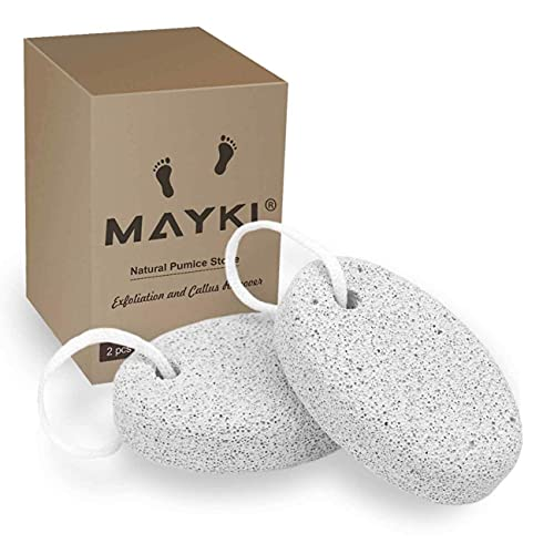 Pumice Stone 2Pcs, Natural Lava Pumice Stone for Feet/Hands/Body, White Calluse Remover/Foot Scrubber Stone for Dead/Hard Skin, Foot File for Men/Women by MAYKI