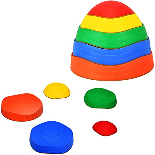 COSTWAY Kids Stepping Stones, 5pcs Stackable Balance Blocks Game with Non-slip Texture, Exercise Balance & Coordination, Rainbow Crossing River Stones for Indoor and Outdoor