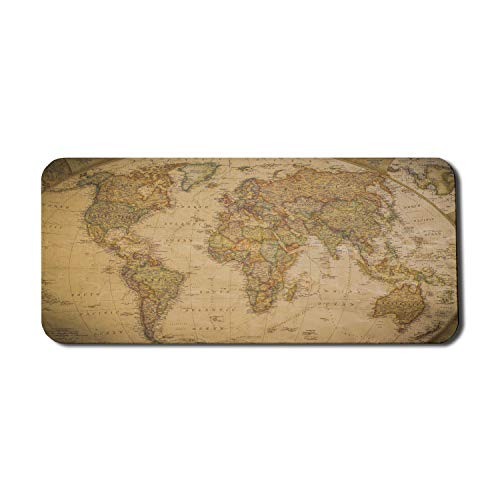 Lunarable World Map Computer Mouse Pad, Anthique Old World Map in Retro Colors Vintage Nostalgic Design Art Print, Rectangle Non-Slip Rubber Mousepad X-Large, 35' x 15' Gaming Size, Cream Pale Coffee