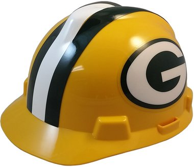 MSA NFL Team Safety Helmets with One-Touch Adjustable Suspension and Hard Hat Tote - Green Bay Packers