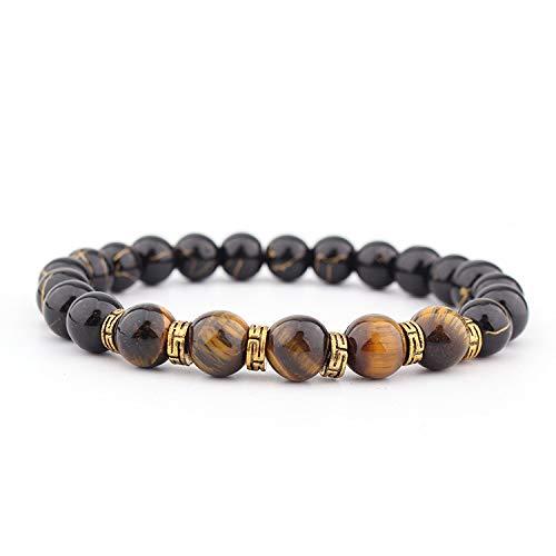 Negro Lava - Pulsera de piedra volcánica oxidada con tigre y piedra de oro Diafragma, pulsera elástica de diafragma fácil de ajustar