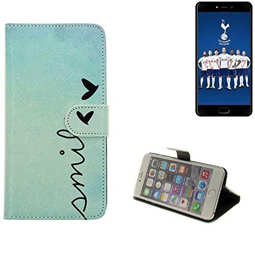 K-S-Trade® Schutzhülle Für Leagoo T5C Hülle Wallet Case Flip Cover Tasche Bookstyle Etui Handyhülle ''Smile'' Türkis Standfunktion Kameraschutz (1Stk)