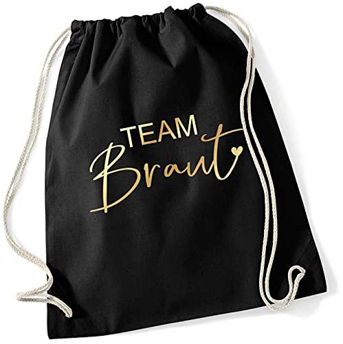 Miss Lovely JGA Bolsa de deporte mochila de tela Team novia con corazón en negro & oro accesorios & accesorios & accesorios & accesorios para despedida de soltera, mujeres novia fiesta