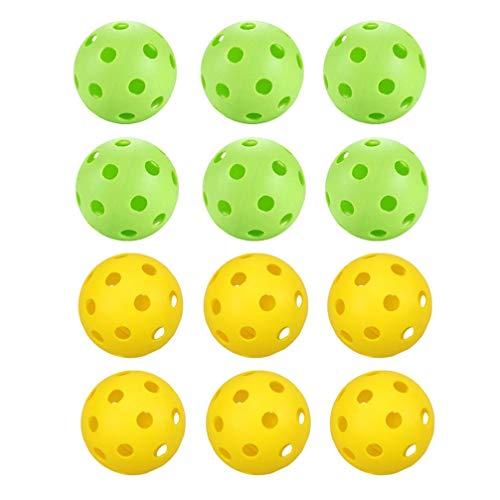 ADSE Hohle Golfbälle Farbiger Golfübungsball Plastikgolfbälle Spielbälle Spielzeug für Kinder Erwachsene Indoor Outdoor 12 STK. (6 x Gelb + 6 x Grün)