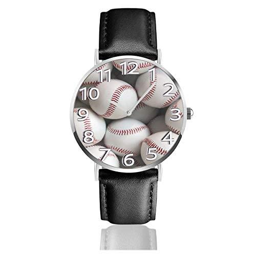 Reloj de Pulsera Muchas Pelotas de béisbol Blanco y Rojo Correa de Cuero PU Duradera Relojes de Negocios de Cuarzo Reloj de Pulsera Informal Unisex