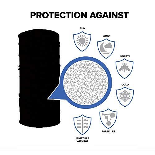 Windproof Face Mask Sport Head Scarf Neck Sun Protection Solid Multipurpose Headband (Black)